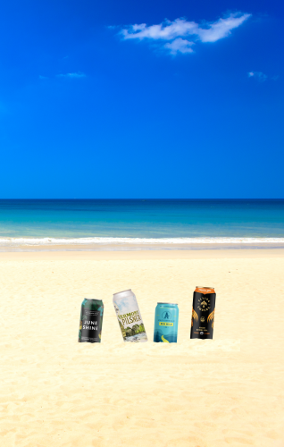 beach horizon with 4 beer cans